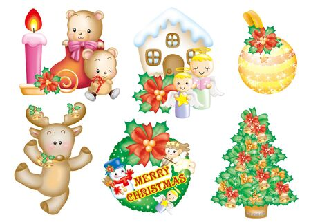 Cute cartoon design elements set - Christmas photo