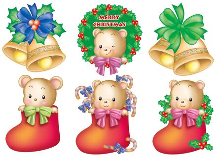 Cute cartoon design elements set - Christmas Stock Photo - 9530398