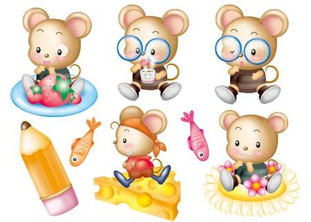 Cute cartoon design elements set - mouse Stock Photo - 9530391