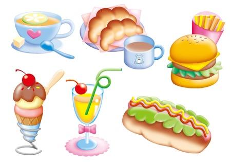 Cute cartoon design elements set - FOOD photo