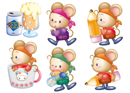Cute cartoon design elements set - mouse Stock Photo - 9530390