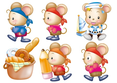 Cute cartoon design elements set - mouse Stock Photo - 9530392