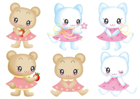 Cute cartoon design elements set - Cat, bear photo