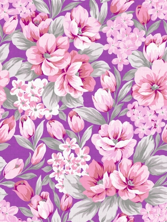 Purple flower background, seamless pink design pattern