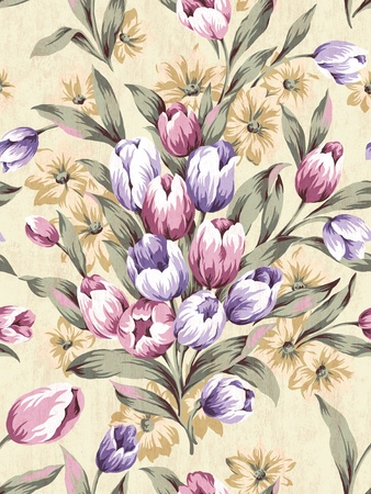 Seamless tulip background pattern   photo