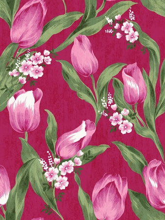floral tracery: Seamless tulip background pattern