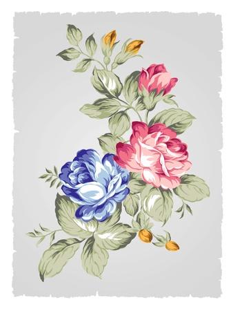 hand getekende Oude stijl roos met Eenvoudige achtergrond Stockfoto