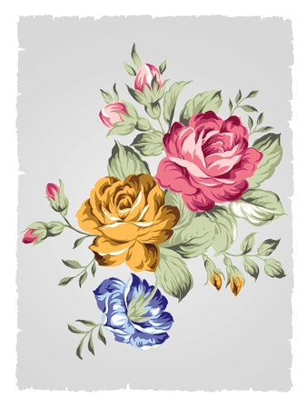 sprays: hand drawn Old styled rose -Simple background  Stock Photo