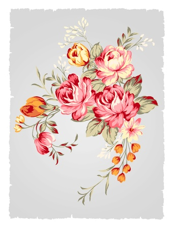 painting nature: beautiful Rose bouquet design-Simple background  Stock Photo