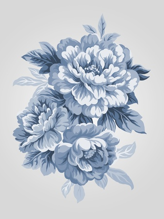 hand drawn China Blue Peony bouquet - Simple background