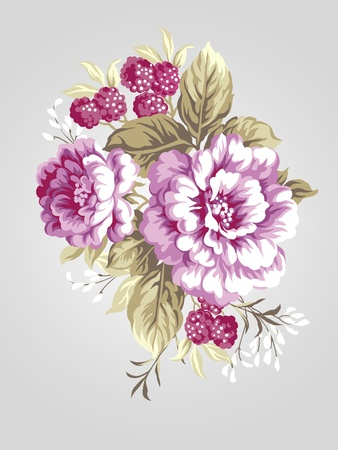richness: hand drawn Peony bouquet - Simple background  Stock Photo