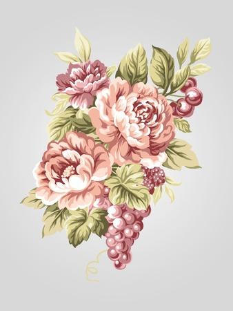 손으로 그린 옛 작약 꽃다발 - 간단한 배경 스타일