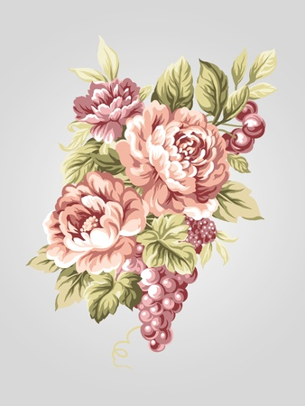 hand drawn Old styled Peony bouquet -Simple background  photo