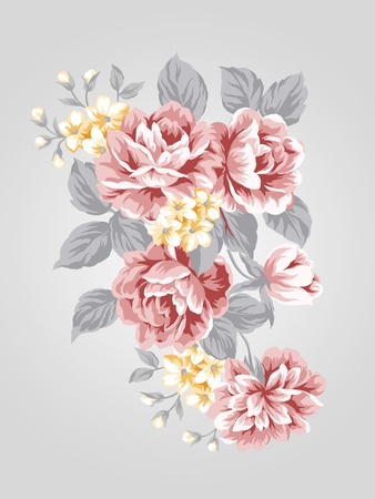 hand drawn Old styled rose with Simple background  Stock Photo - 12935520