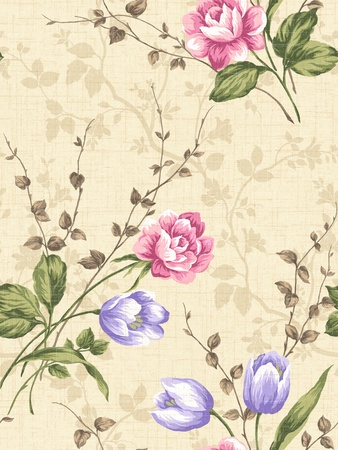 For easy making seamless pattern use it for filling any contours - rose seamless pattern  Stock Photo