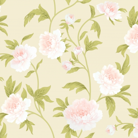 poppy flowers: Spring style Peony flower seamless pattern background - For easy making seamless pattern use it for filling any contours