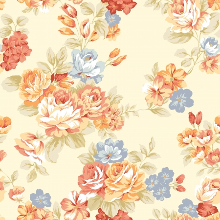 vintage flower: For easy making seamless pattern use it for filling any contours - Intense red color rose seamless pattern