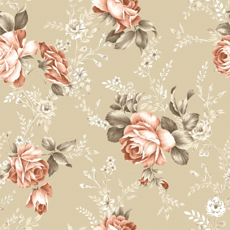 fabric design: For easy making seamless pattern use it for filling any contours - Intense red color rose seamless pattern