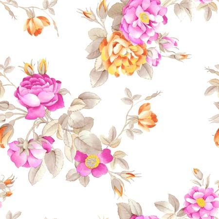원활한 분홍색 배경 디자인 패턴 장미 - 로맨틱 스타일을