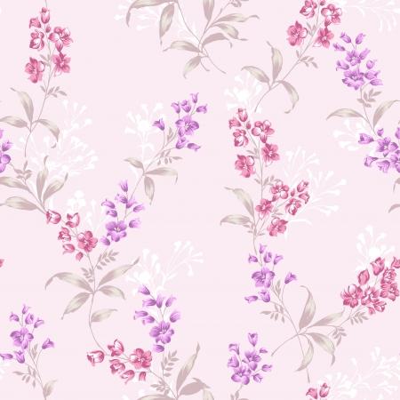 Delicate krul bloemen patroon naadloze achtergrond - Voor gemakkelijk maken naadloze patroon gebruiken voor het vullen van alle contouren