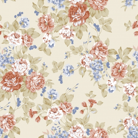 Rose bouquet design Seamless pattern with White background  photo
