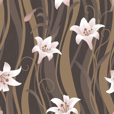 magnificence: Delicate curl Lily pattern seamless background - For easy making seamless pattern use it for filling any contours  Stock Photo