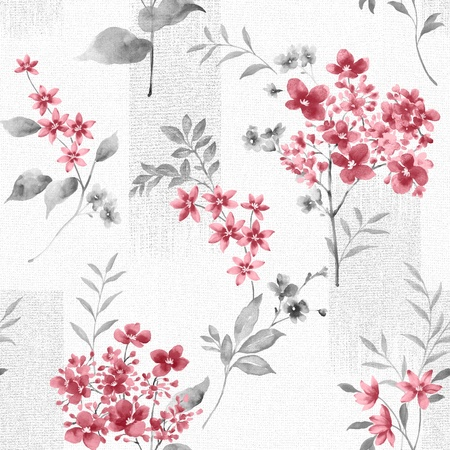 sateen: Delicate curl flowers pattern seamless background - For easy making seamless pattern use it for filling any contours