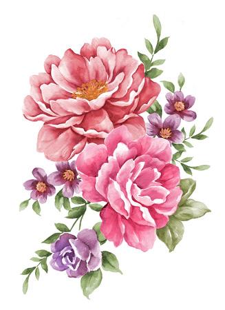 aquarel illustratie bloemen Stockfoto
