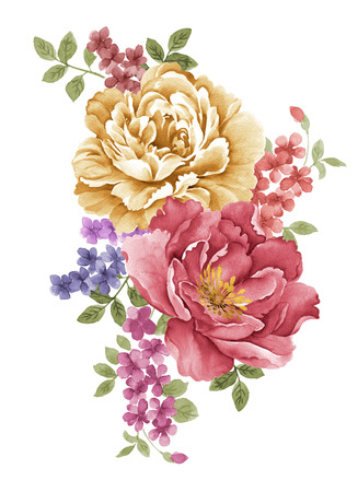 abstract flowers: watercolor illustration flowers in simple background