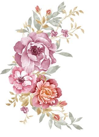 간단한 배경에서 수채화 그림 꽃