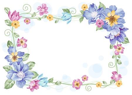 aquarel bloemen illustratie verzameling bloemen die un een vorm van de krans perfecte