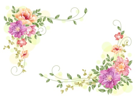 watercolor floral illustration collection   flowers arranged un a shape of the wreath perfect  illustration
