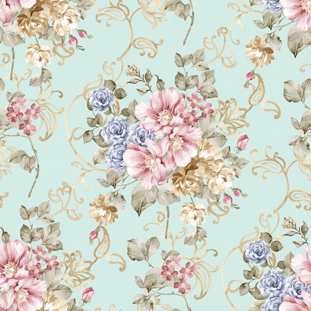 新鮮な春の花のシームレスなパターン - 簡単の作るシームレス パターンそれを使用する任意の輪郭を埋めるため