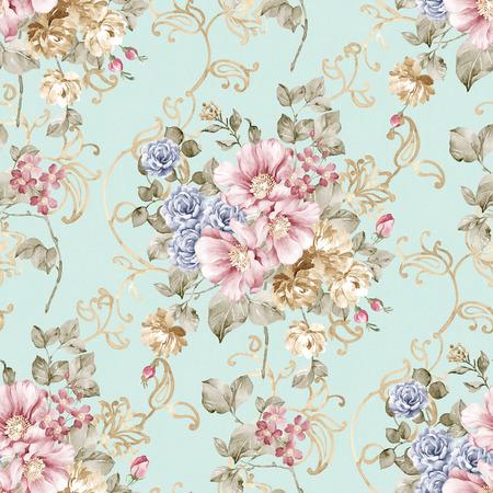 Verse lente bloemen naadloze patroon - Voor gemakkelijk maken naadloze patroon gebruiken voor het invullen van alle contouren Stockfoto