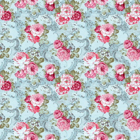 Fresh  flowers seamless pattern background - For easy making seamless pattern use it for filling any contours photo
