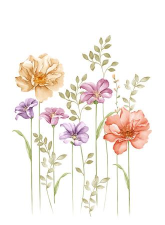 aquarel illustratie boeket in eenvoudige witte achtergrond