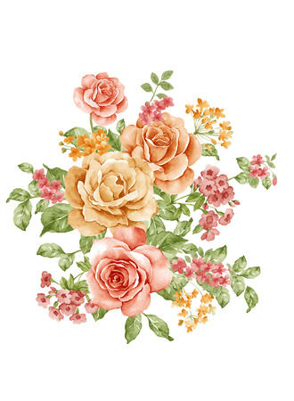 painterly: watercolor illustration bouquet in simple white background