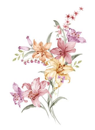 간단한 흰색 배경에서 수채화 그림 꽃다발