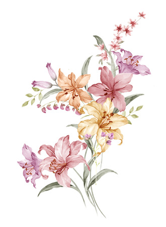 flower banner: watercolor illustration bouquet in simple white background