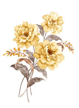 mazzo di fiori: illustrazione acquerello bouquet in semplice sfondo bianco Archivio Fotografico