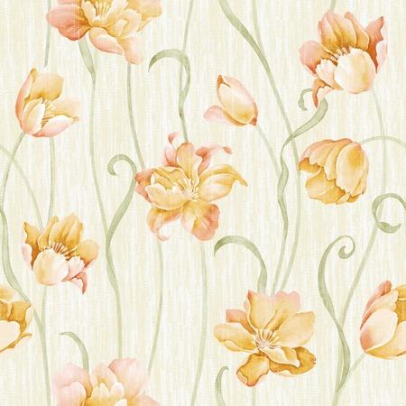 신선한 봄 꽃 원활한 패턴 - 쉽게 만드는 완벽한 패턴은 모든 컨투어를 채우기 사용