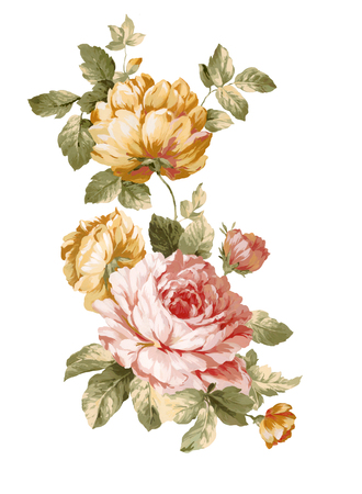 isolated flower: watercolor illustration bouquet in simple white background