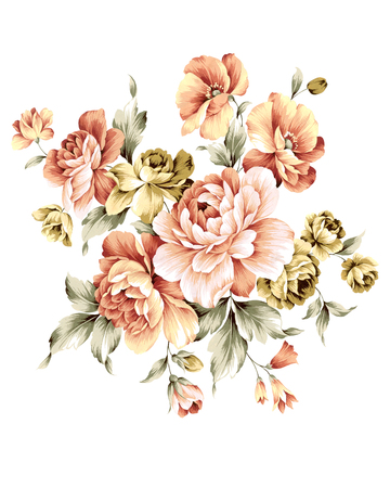 illustration bouquet in simple white background Stock Photo