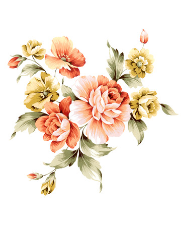 illustration bouquet in simple white background Stockfoto