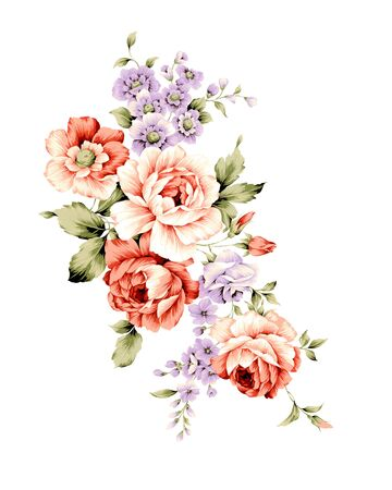 illustration bouquet  in simple white background