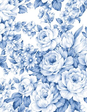 Classic Popular Flower Seamless pattern background-For easy making seamless pattern use it for filling any contours Фото со стока