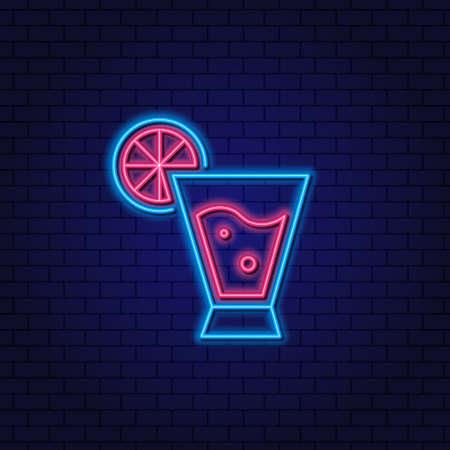 Daiquiri Cocktail Neon Design Element. Cocktail with lime, orange. Concept for Cocktail Bar, Pub. Drinks promotion.