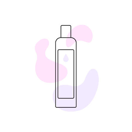 Shampoo. Cosmetic product. Flat Design Black Linear Contour. Vector Icon isolated on white background.