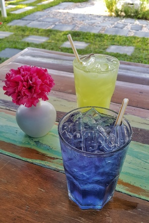 refreshments: Colorful ice herbal drink refreshments in the garden Stock Photo