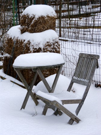 wintery: Wintery scene - Chair and table under the snow